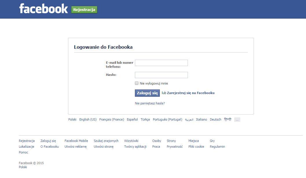 Facebook logowanie logowanie