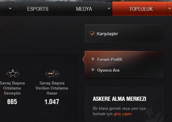 Oyuncunun profilindeki karşılaştır seçeneğini işaretleyin