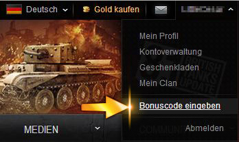 gratis bonus code world of tanks